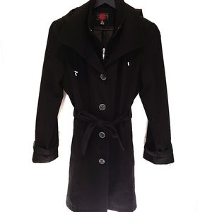 Gallery Petite Hooded Tie Waist Trench Coat Black